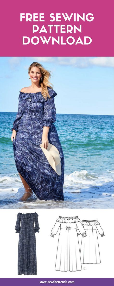 Off Shoulder Plus Size Dress Sewing Pattern (Free | Pinterest ...