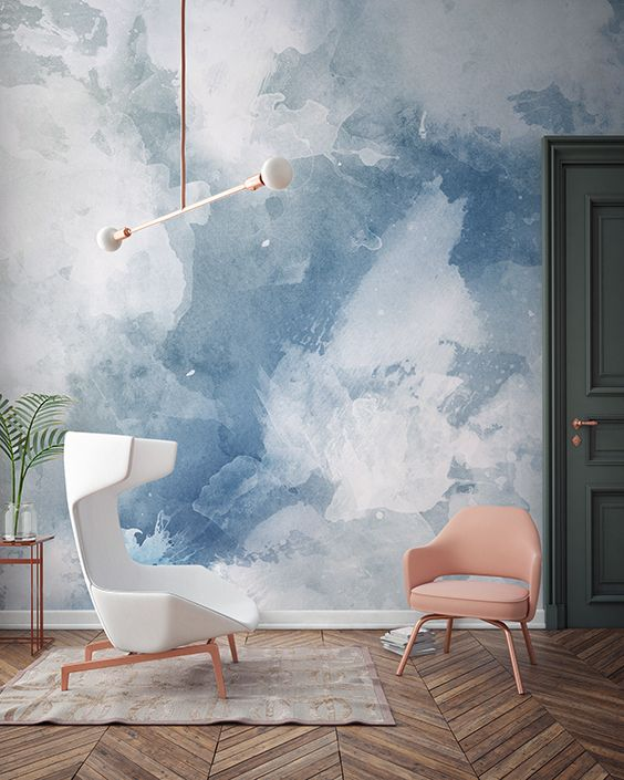 Blue & White Grunge Paint Watercolor Mural in 2020