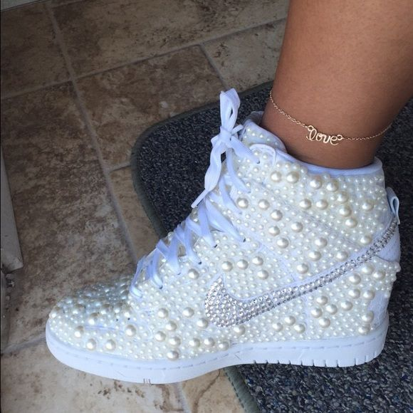 69e199bb1553 IG Currently taking orders on Nike wedge sneakers Custom made Nike wedge  sneakers with pearls. Nike Shoes Sneakers
