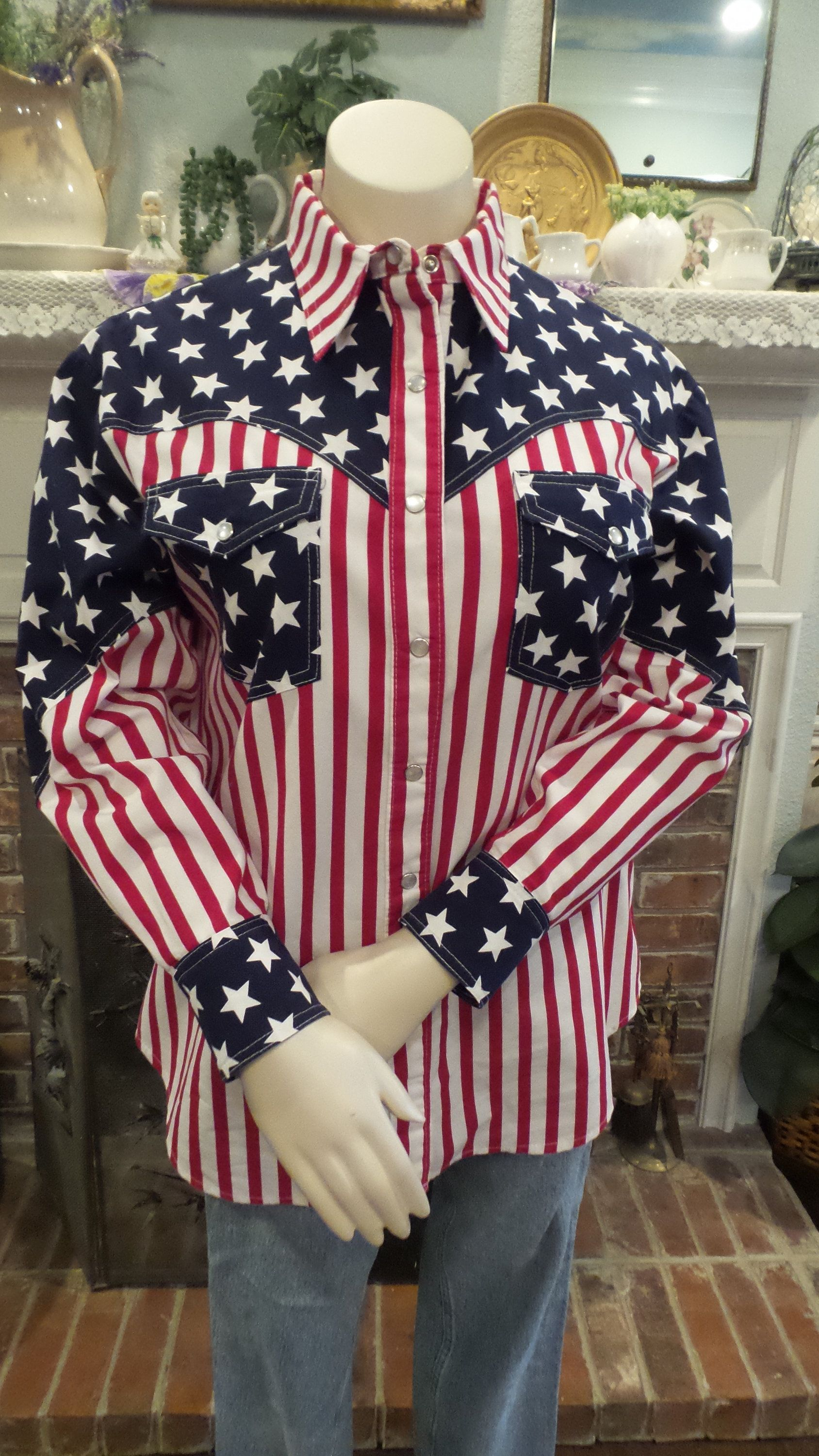 Boys Roper Western Show Rodeo Red Blue Stars Stripes American Flag Parade Shirt