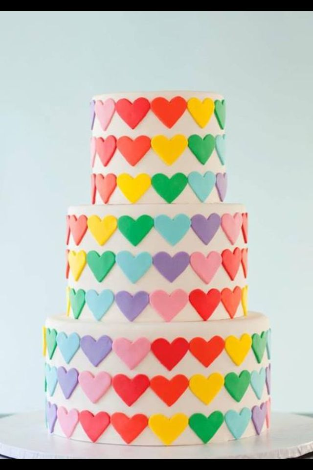 Colourful cake, would be nice in pastel