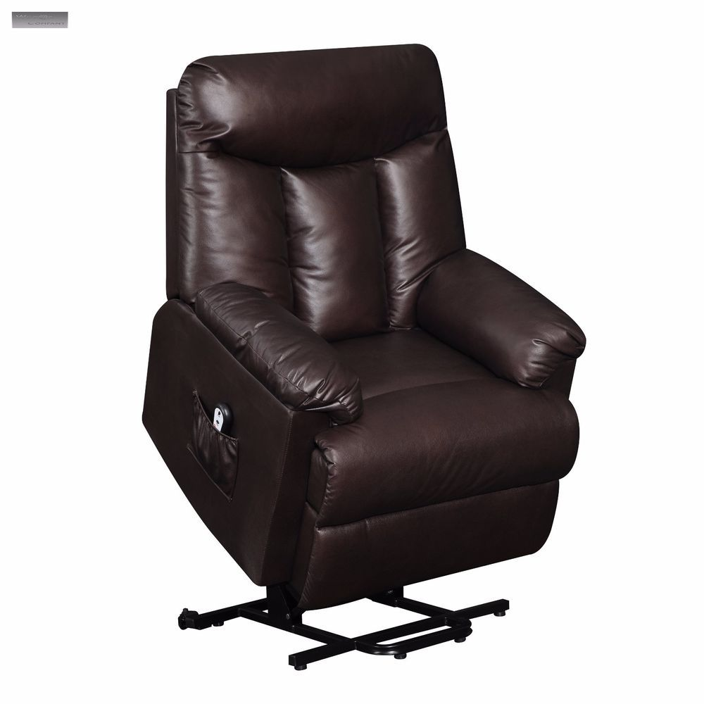 Brown Lift Recliner Leather Hugger Power Remote Lazy Chair