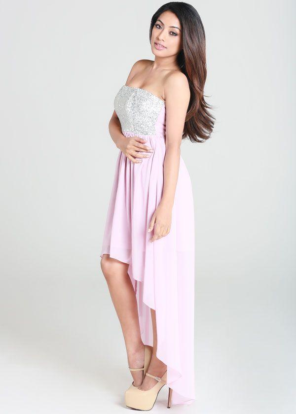 d3e64c47 Light Pink Silver Sequin Strapless Hi-Low Dress #formaldress #partydress # highlow