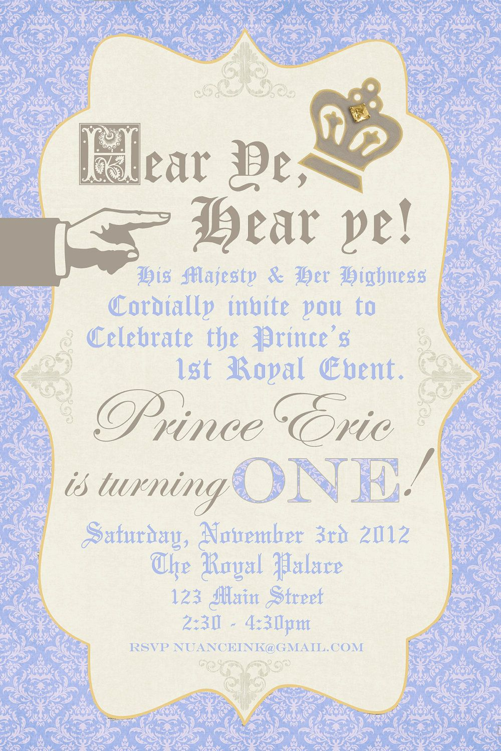 Custom Personalized Prince Birthday Party Invitations ...