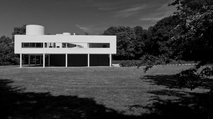Villa Savoye, 1931. This weekend house near Paris has become one of modern architecture's key icons, residential or otherwise. It perfectly encapsulates Le Corbusier's 5 points that he developed in the 1920s: raising the building on pilotis (slender columns), a free facade that was independent of the structural system, ribbon windows based on a similar logic, an open floor plan, and a roof garden that regained the ground lost through the building's occupation of the landscape.