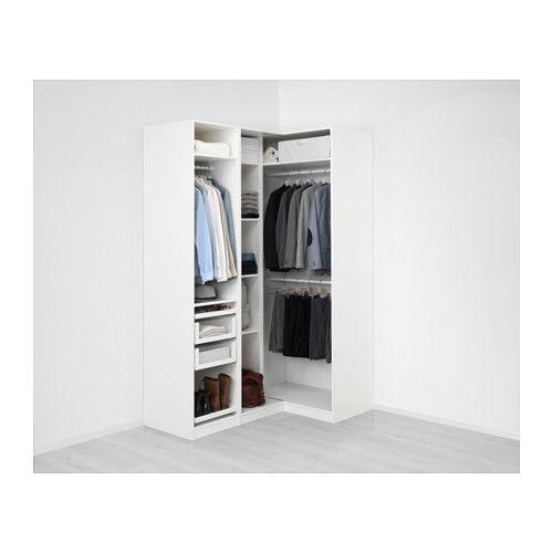 PAX Eckkleiderschrank, weiß, Fardal Hochglanz/weiß | Corner wardrobe ...