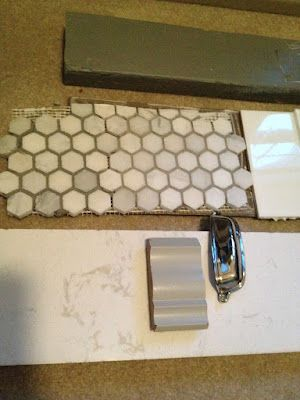 Delorean grout on L side and Tec Mist on R side of hex tile