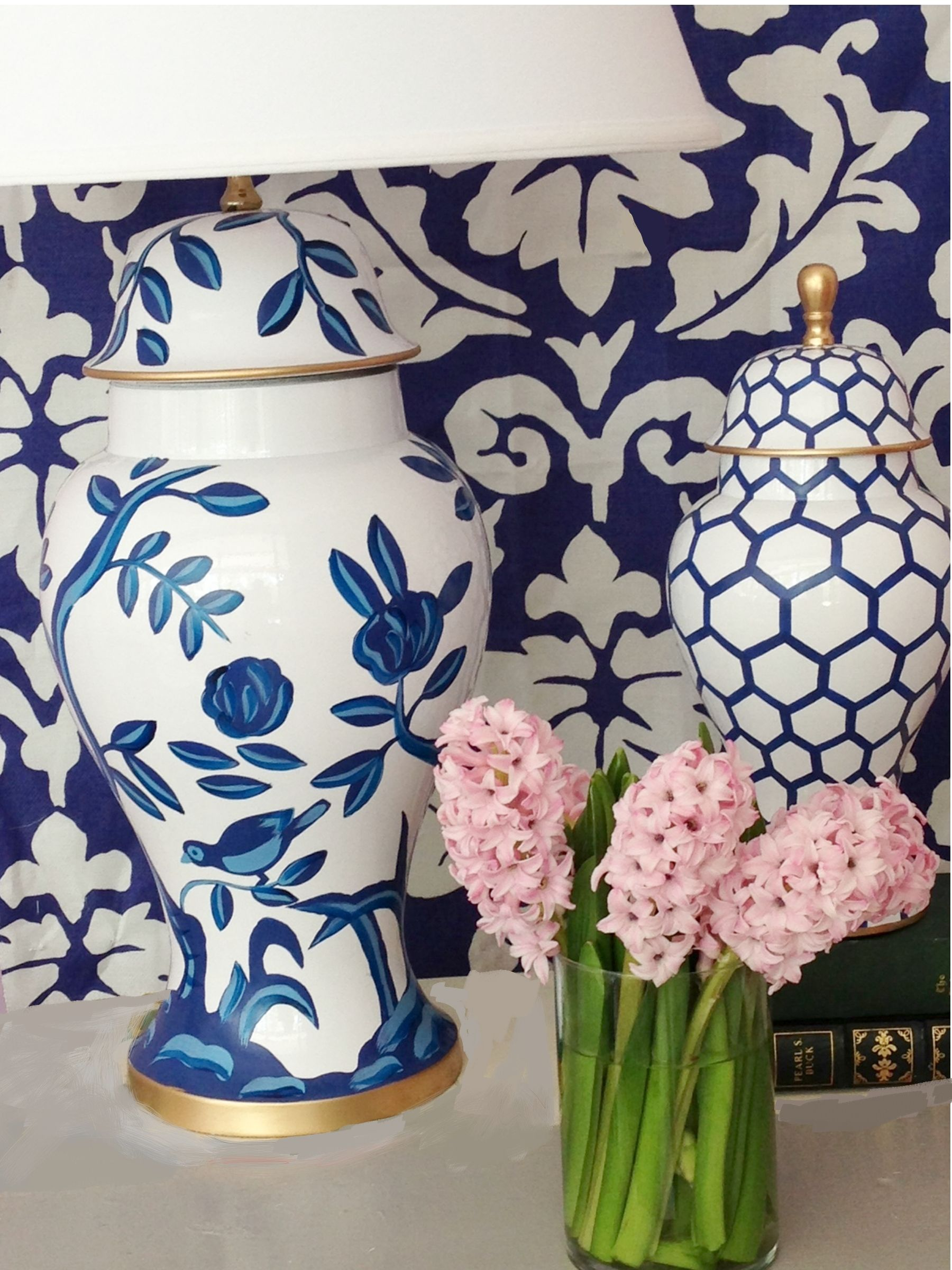 New Cliveden Lamp in Blue and White