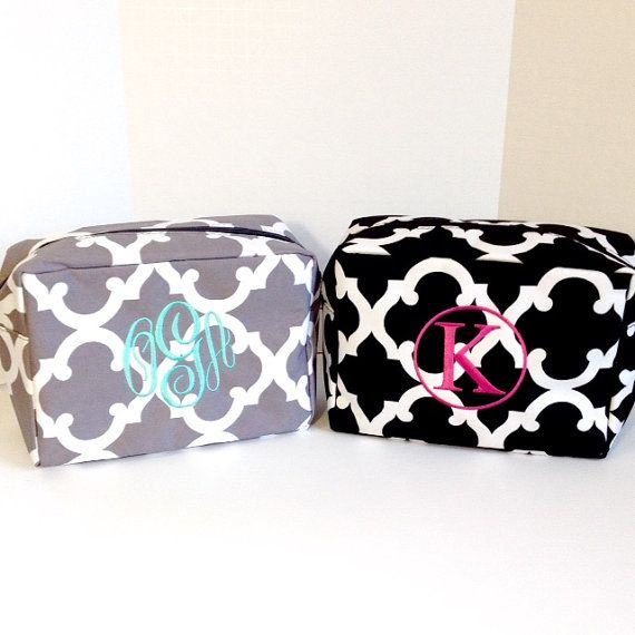 220800737e18 Set of Two Monogrammed Makeup Bags
