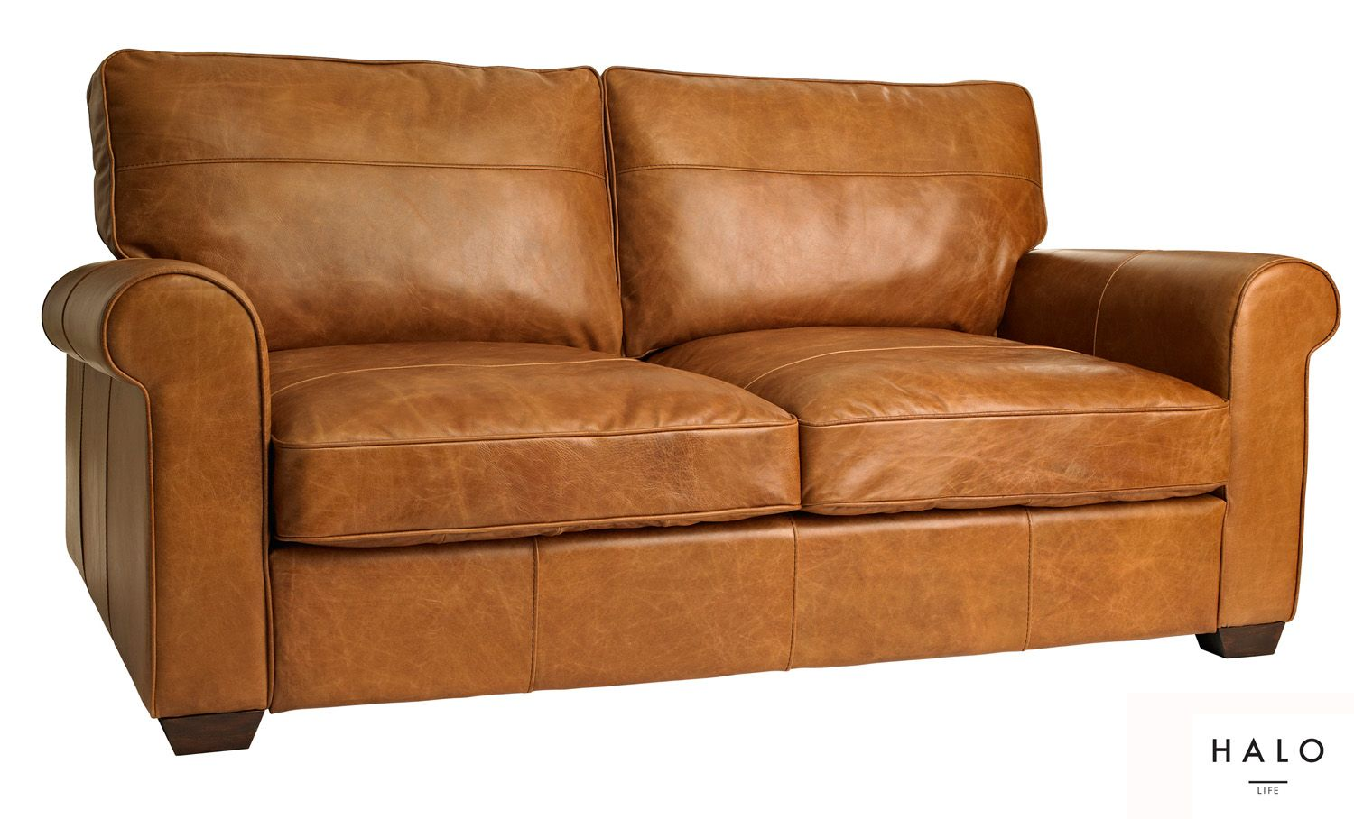 Halo Hudson 3 Seater Sofa Biker Dark Brown Tan leather
