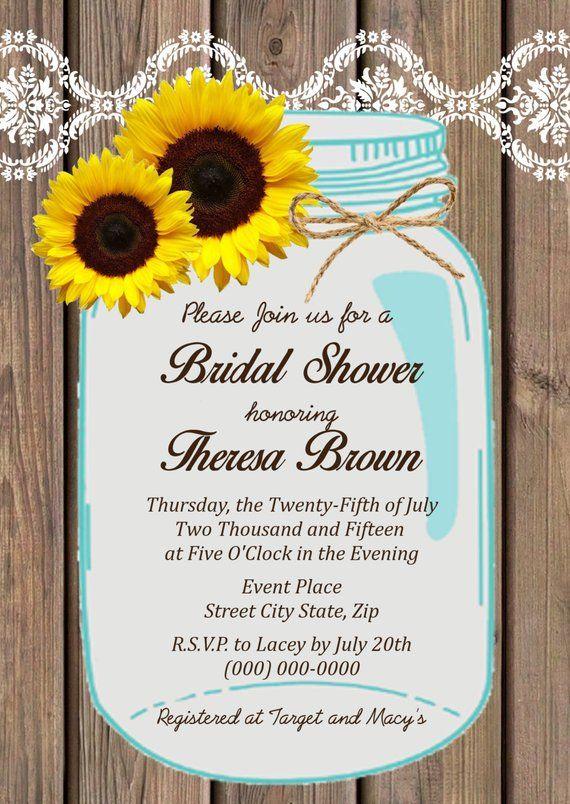 89e631c9aeb Sunflower Mason Jar Bridal Shower Invitation DIY Printable ...