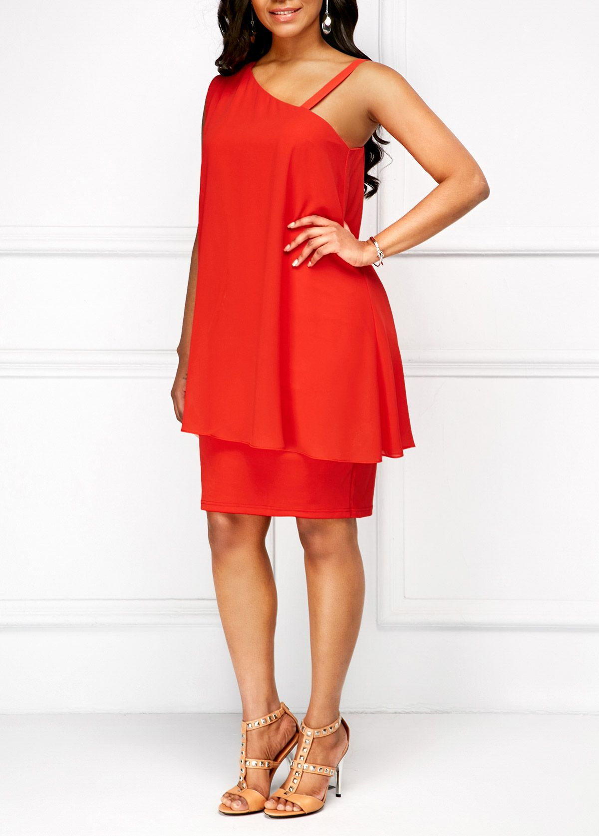 050ab1db0fe Orange Red Spaghetti Strap Sleeveless Overlay Dress