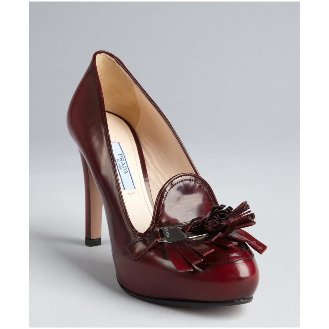 Prada Women's Burgundy Leather Fringe Tassel Platform Loafer Pumps. Leather  FringeBlack LeatherRed ...