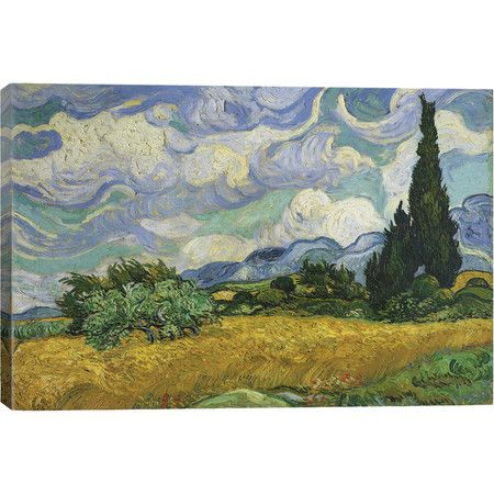Add gallery-worthy appeal to your walls with this canvas print of Vincent van Gogh's Wheatfield With Cypresses.  Product: