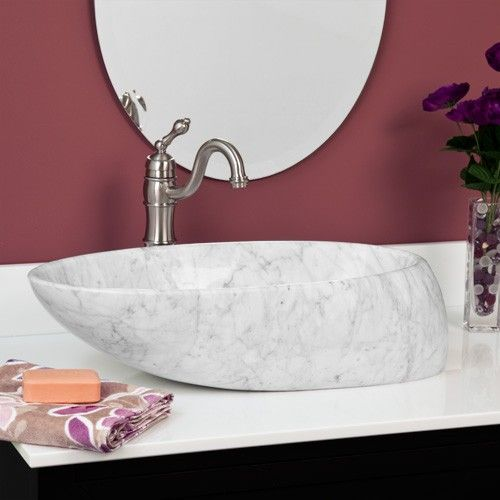 Asymmetrical Oval Carrara Marble Vessel Sink Carrara marble - Vessel Sinks Bathroom
