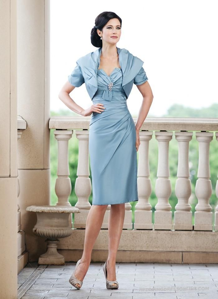 Chiffon Knee Length Sheath Strapless Sweetheart Mother Of The Bride Dress With Free Jacket