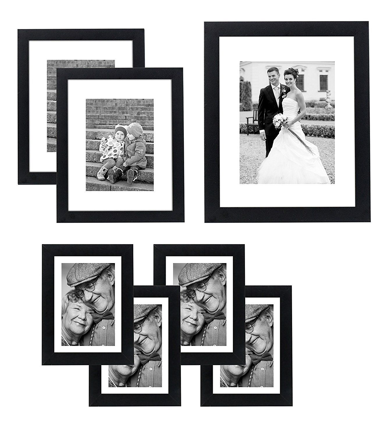 7 Piece Gallery Wall Set Includes 11x14 Inch With 8x10 Inch Matte Opening Two 8x10 Inch With 5x7 Matte Wall Frame Set Frames On Wall Picture Frame Gallery