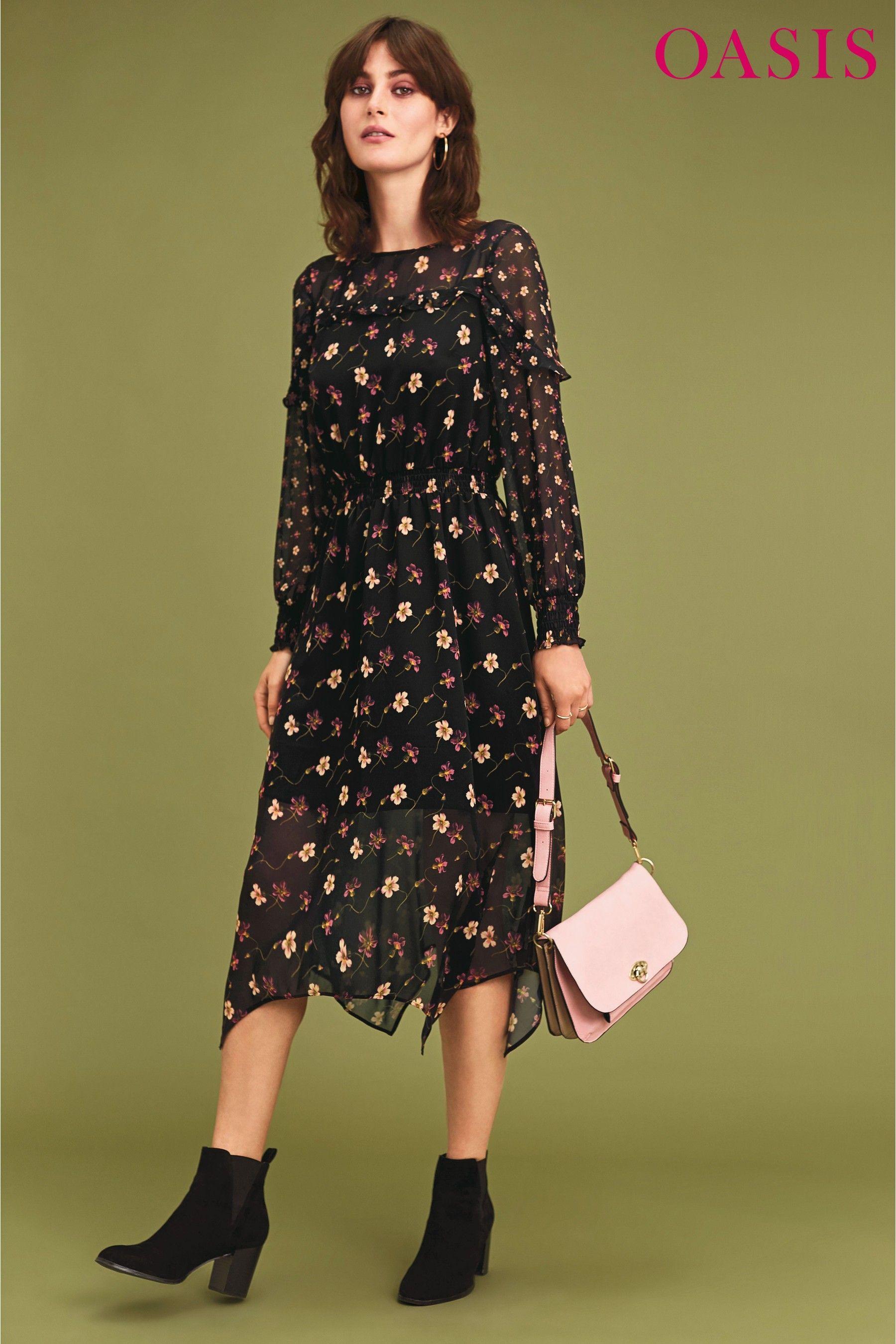 bf3febf8b454 Buy Oasis Black Frieda Floral Long Sleeve Chiffon Midi Dress from Next  Ireland