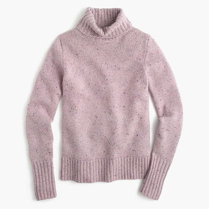 Ribbed turtleneck in Italian cashmere donegal
