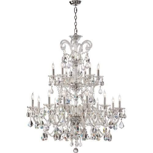 Bohemian Luxury Crystal Chandelier Home Decor - 2 Tier Luxurious Chandelier - 18 Light - Chrome Finish - Bohemian Marien Crystal Collection - Free Shipping