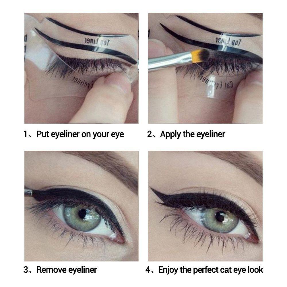 Smokey Eye Makeup Eyeliner Stencil Kit Eyeshadow Model For bottom
