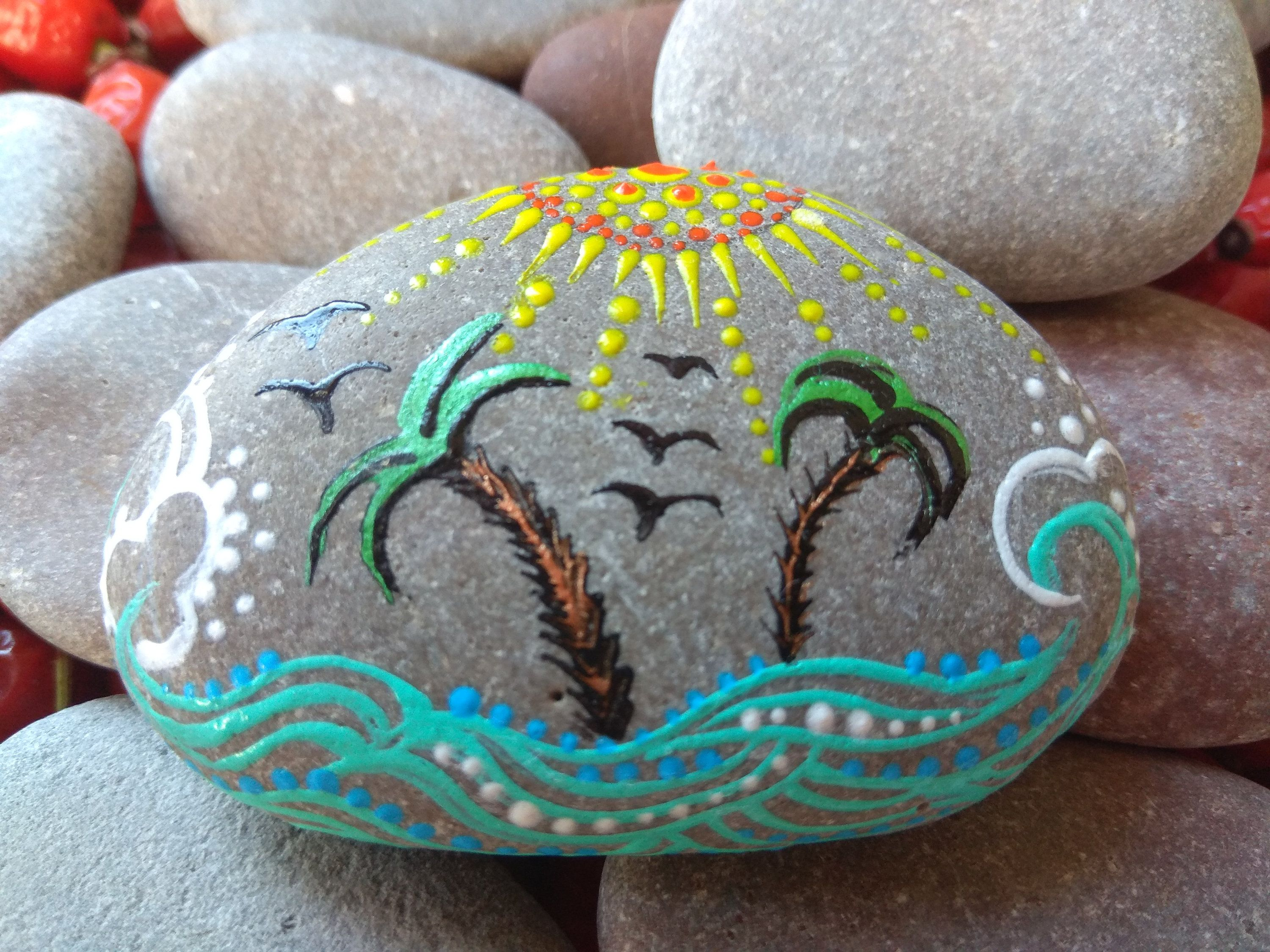 Photo of Hand painted see stone beach rock tool for Meditation healing altar pleasant gift for traveller tropical goa bali father's day for dad