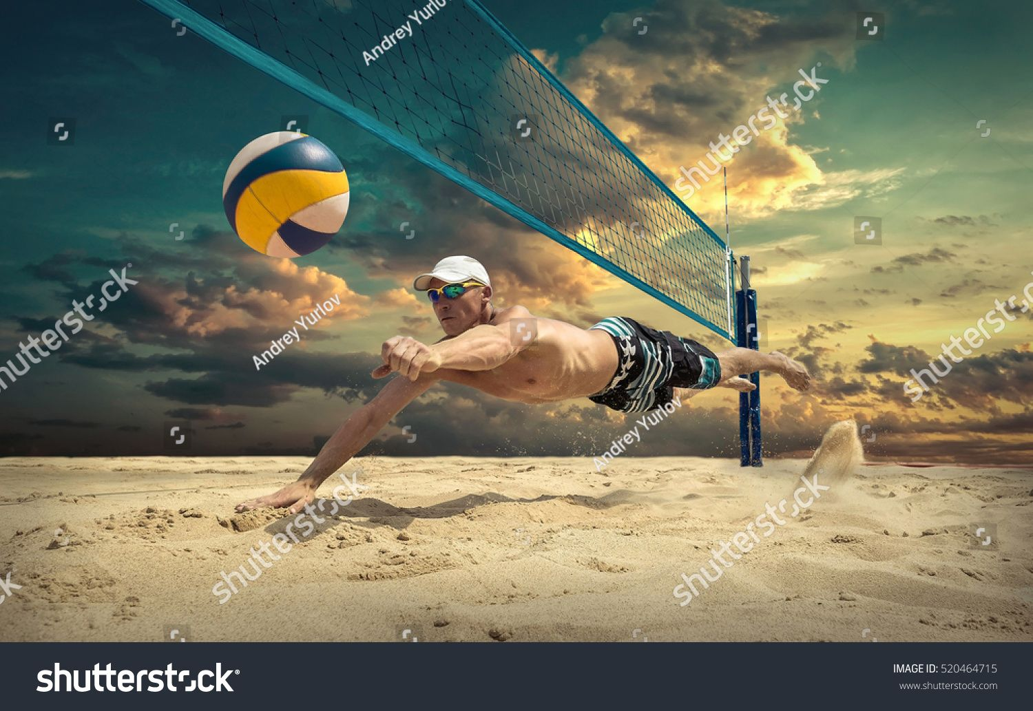 Beach Volleyball Player In Action At Sunny Day Under Blue Sky Ad Affiliate Player Action Beach Volleyball In 2020 Volleyball Players Beach Volleyball Beach