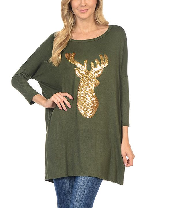 Look at this Olive & Gold Reindeer Tunic on #zulily today!