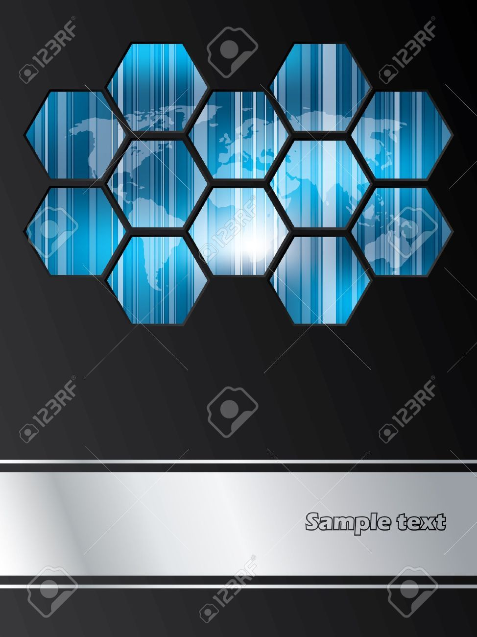 11549900 company brochure design with striped world map covered with 11549900 company brochure design with striped world map covered with hexagons stock vectorg 9741300 gumiabroncs Gallery