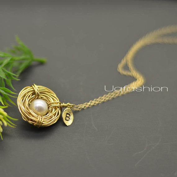 ONE Initial Bird Nest Gold Fill Personalized Mothers by Uqfashion, $24.50