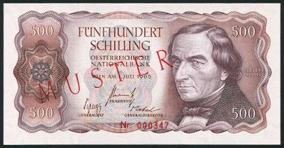 Currency Of Austria 500 Austrian Schilling Banknote Of 1965 Issued By The National Bank Of Austria Oesterreic Bank Notes Currency Design Banknote Collection