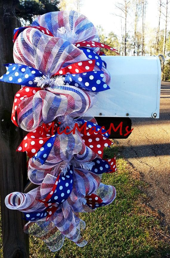 Patriotic Mailbox Swag July 4th Swag Patriotic Mesh Swag