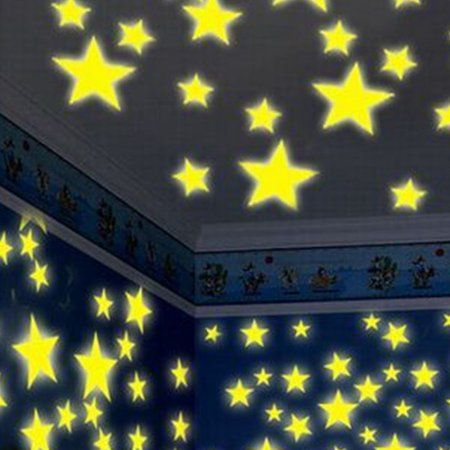 100pcs bedroom fluorescent glow in the dark stars wall stickers home