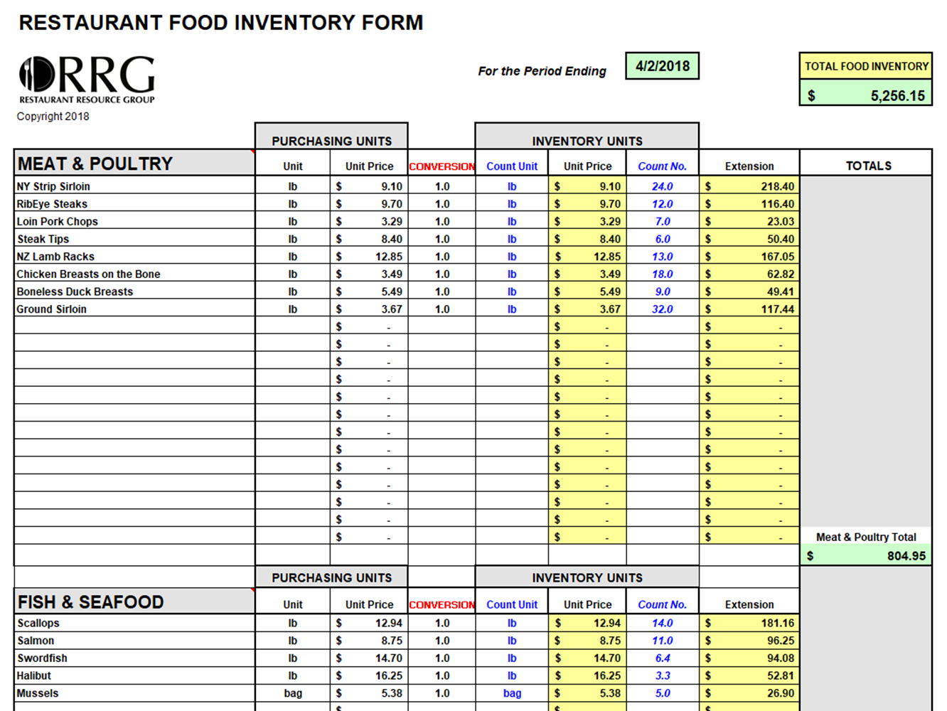 Food And Beverage Inventory Workbook