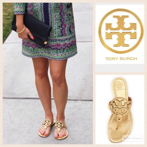 Tory Burch metallic gold Miller sandals- pre worn These sandals have been  pre-worn with tons of life left! They have been worn by all the celebs and  now ...