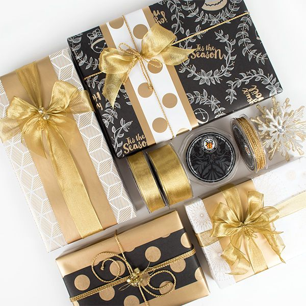 Wrapco Gold & Black Christmas gift wrapping. www.wrapco.com.au