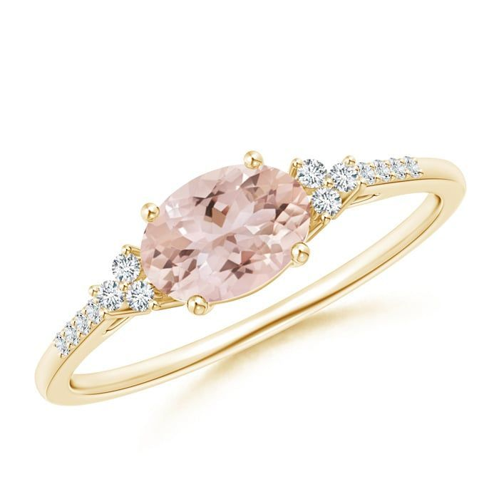 Angara Oval Emerald Solitaire Ring with Trio Diamond Accents in Rose Gold VmF0xneyX