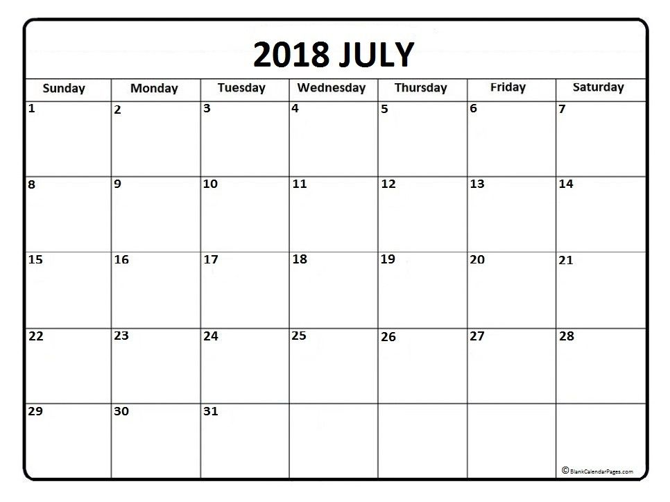 July Calendars July Calendar  Printable And Free Blank