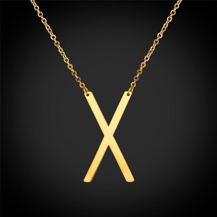 Large Gold Sideways Initial X Choker Necklace Personalized