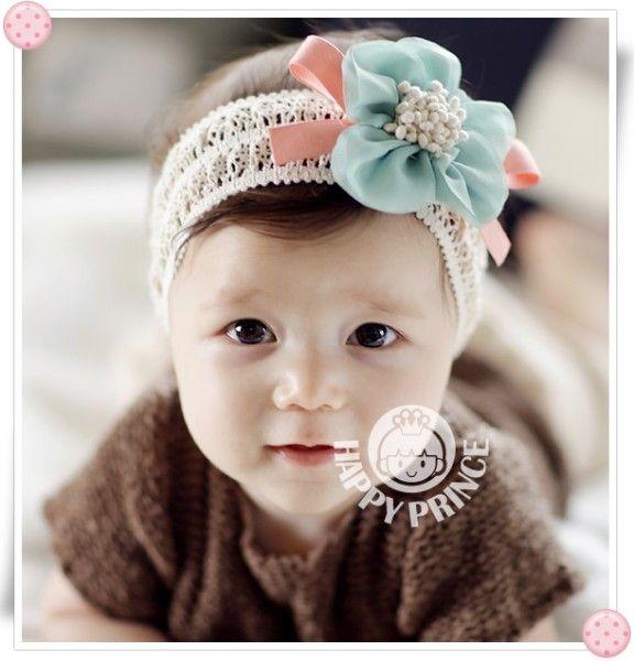 赤ちゃん ベビー ヘアバンド ヘアアクセ 花 レース Kidsa12 002 Blue