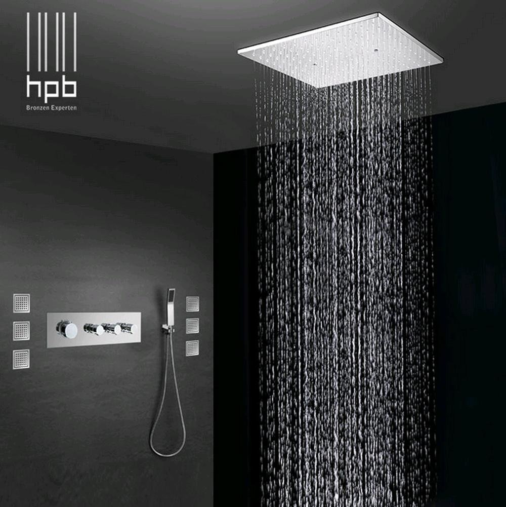Pst Brass Bathroom Thermostatic Water Mixer Ceiling Mounted Shower Head Bath Rain Shower Set Faucet Tornei Ceiling Mounted Shower Head Shower Heads Rain Shower [ png ]
