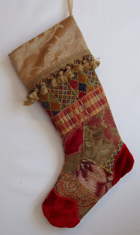 Fancy Christmas Stocking handmade fabric art crazy quilt ...