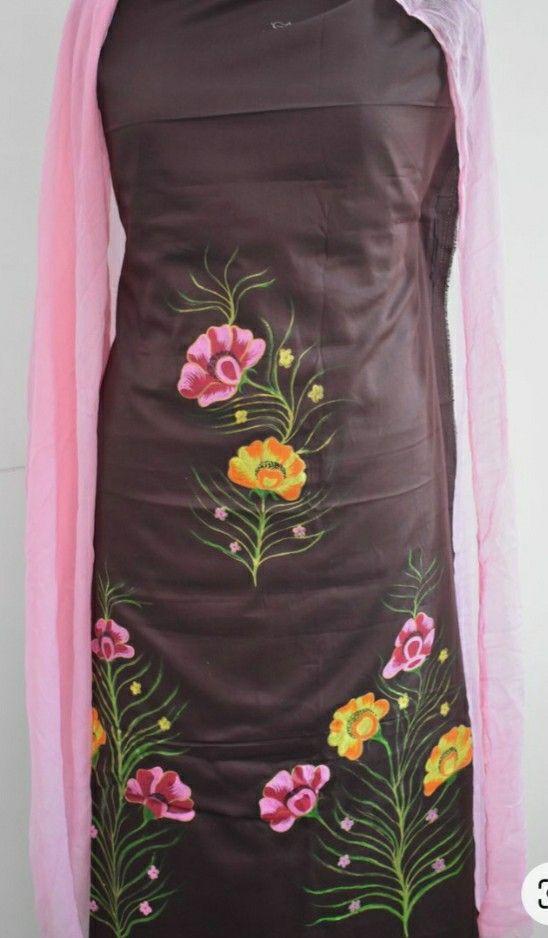 KO323G Atharva Embroidered Salwar KameezRunning Embroidery Kota Shirt BlueMulti Color Organza DupattaCotton Chikankari Salwar