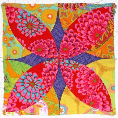 Quilt block called Alabama Beauty done in Kaffe Fassett fabrics.  Stunning.