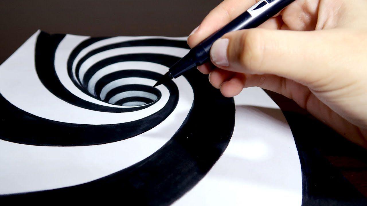 Como Desenhar Um Buraco 3d Ilusão De ótica Passo A Passo