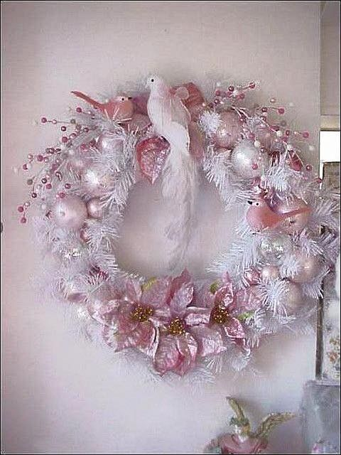 Beautiful Shabby Chic Christmas Pink Victorian Ornaments Holiday Wreaths