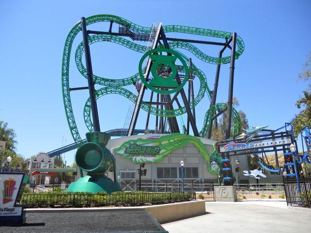 Green Lantern First Flight Six Flags Magic Mountain Valencia California Roller Coaster Thrill Ride Crazy Roller Coaster