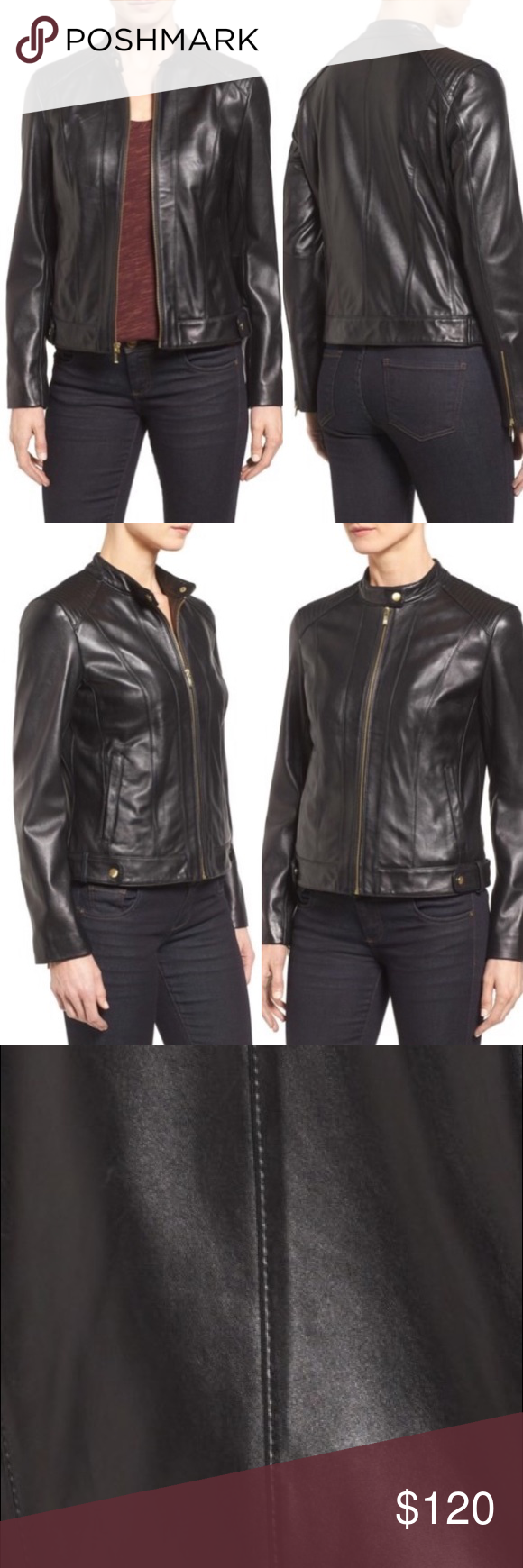 73563683e5155 Cole Haan Plus Size Leather Moto Jacket Cole Haan introduces an It-girl  staple for