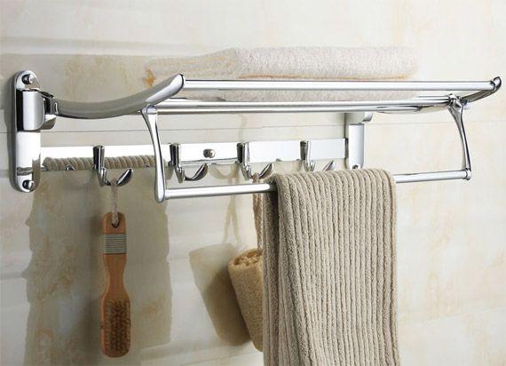 Bath Towel Rail 2211 Swivel Towel Shelf With Robe Hooks