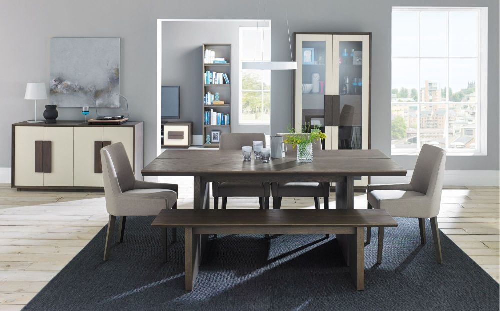 Bentley Designs City Weathered Oak And Soft Grey Dining Set Impressive Grey Dining Room Chairs Decorating Inspiration